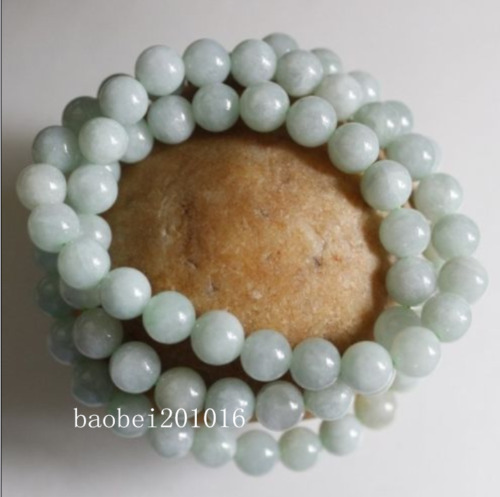 Certified Natural Untreated Light Green Jadeite Jade Round Beads Necklace 8mm LL