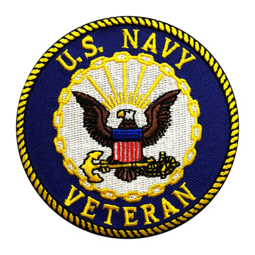 US NAVY VETERAN EMBROIDERED 3 inch IRON ON SEW ON PATCH Navy - 48826