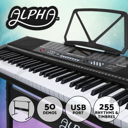 Alpha 61 Keys Digital Piano Keyboard Electronic Electric Keyboards & Stand