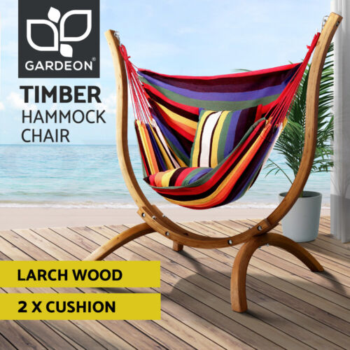 Gardeon Outdoor Furniture Timber Wooden Patio Hammock Chair with Stand Lounge <br/> ✓Imported Wooden ✓Hammock with Stand ✓Clearance Sale!