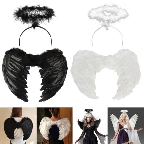 Halloween Christmas Kid Adult Angel Wings Fancy Dress Fairy Feather Outfit Party