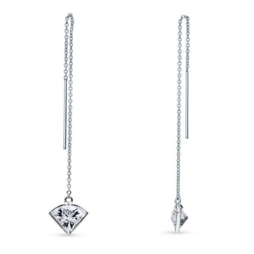 Silver Solitaire Threader Earrings Made with Swarovski Zirconia Side View 1.2 CT