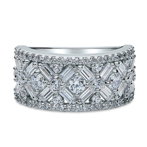 BERRICLE 925 Silver Cubic Zirconia CZ Vintage Style Art Deco Bar Cocktail Ring