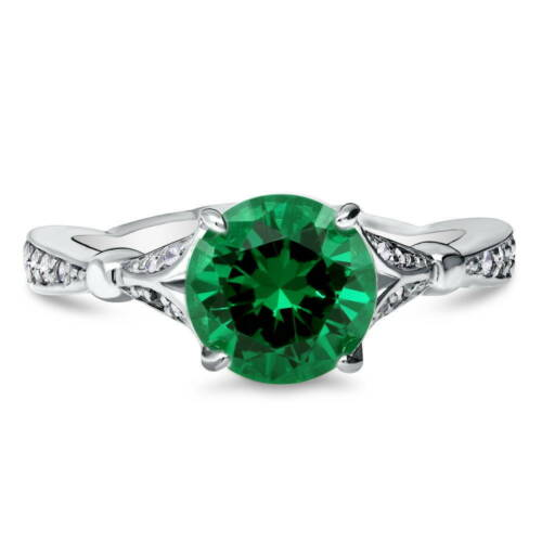 BERRICLE 925 Silver Green Cubic Zirconia CZ Solitaire Promise Ring 2.28 Carat