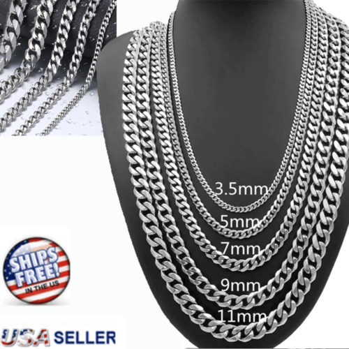 Necklace Cuban Curb Chain Link 22-26'' Stainless Steel MENS 5/7/9mm Silver Tone