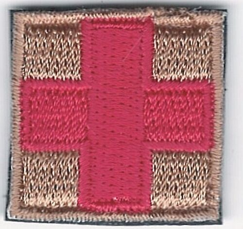 """1"""" Red on Tan Medic Red Cross Paramedic Patch VELCRO® BRAND Fastener CompatibleArmy - 48824"""