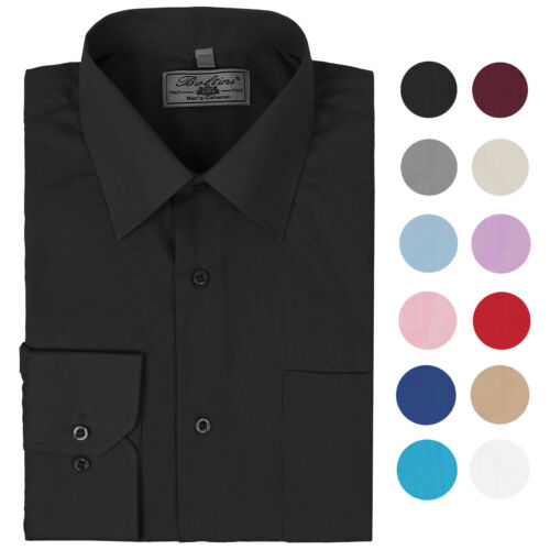Boltini Italy Men's Long Sleeve Solid Convertible French Cuff Dress Shirt