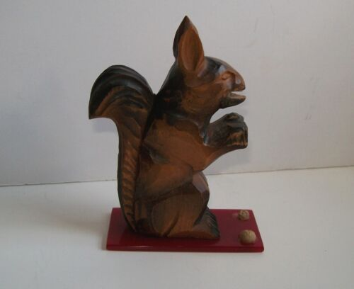 Rice Wood tramp art squirrel soldier carving