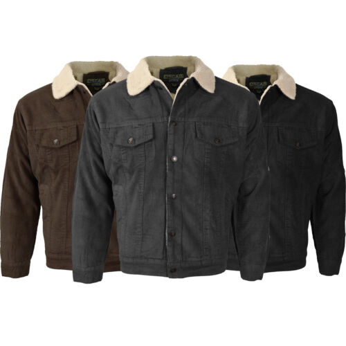 Men's Classic Button Up Premium Fur Lined Corduroy Sherpa Trucker Jacket