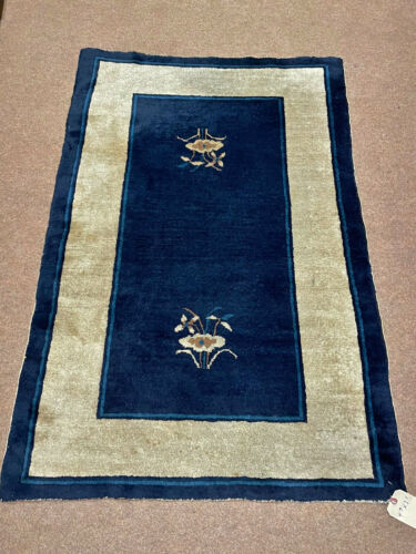 Antique Hand Made Peking  Chinese Rug 3x5ft from Ca 1890