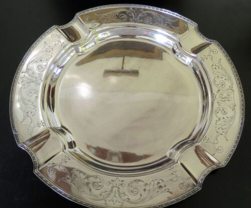1914 RARE Antique Nickel Silver Chippendale Tray, WD Smith Silver Co, 14""