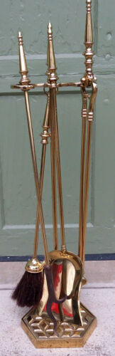 Vintage Solid Brass Fireplace Tool Set -Tools