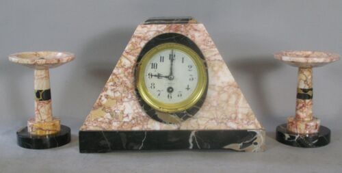Fine FRENCH ART DECO Marble Garniture Clock Set  c. 1930  Excellent Condition +