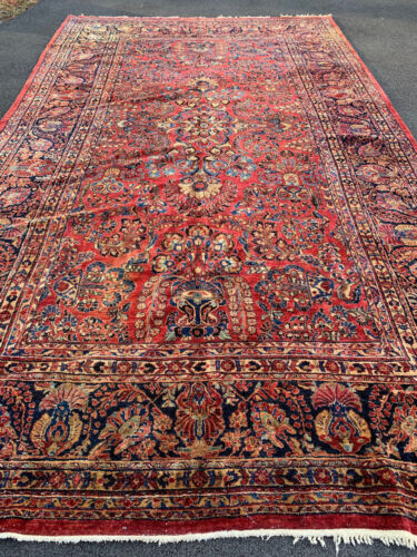 ANTIQUE  AMERICAN  SAROUK MOHAJERAN  RUG 9x15ft CIR 1900