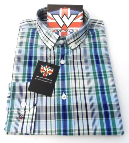 Warrior Geen/Navy Check Long Sleeved Vintage/Retro Mod Button Down Shirts