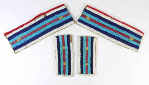 1890s SET OF 4  MATCHED NATIVE AMERICAN SIOUX INDIAN BEADED WAR SHIRT STRIPS
