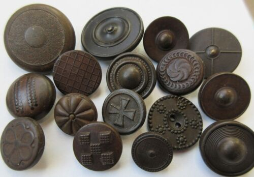 Large Lot of Old Antique~ vtg 1800's Goodyear Hard Pressed RUBBER BUTTONS (Q1)