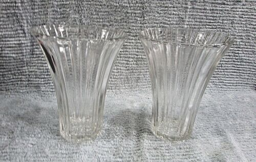 "Pair Heavy Flared Old Ribbed Clear Glass Large 7"" Tall Mid Century Vases FREE SH"