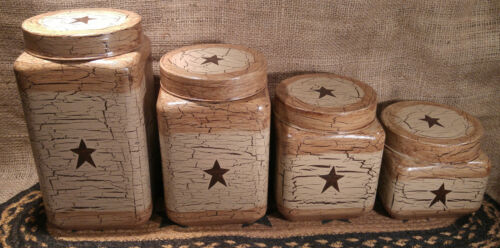 Primitive Crackle Tan & Brown Star Glass Canisters, Set of 4 ~ Country Decor