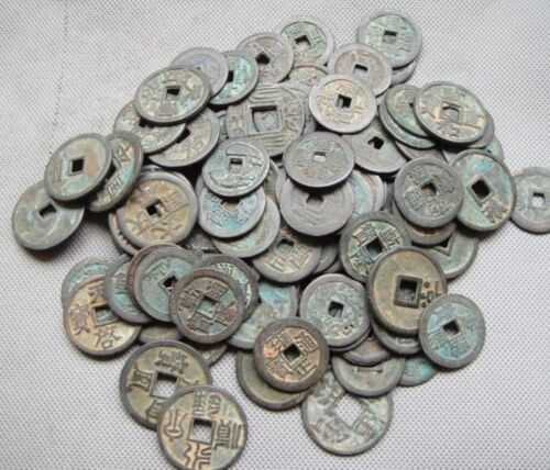 Collect 50pcs Chinese Bronze Coin China Old Dynasty Antique Currency Cash