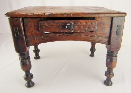 Antique Primitive Spanish-Colonial Foot Stool or Low Table Writing Desk 18th C.