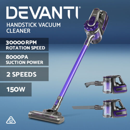 Devanti Handheld Vacuum Cleaner Cordless Stick Bagless 2-Speed Purple 150W <br/> ✔8000Pa Suction✔30000rpm Rotation Speed✔High Efficiency