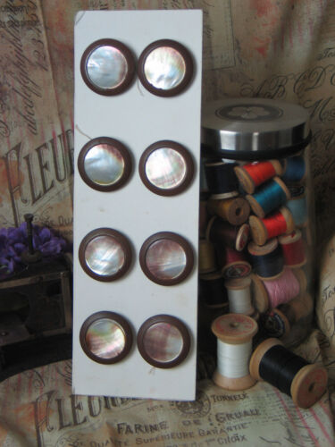 Antique VTG MOP Mother of Pearl Buttons~8 Total-Metal Surround-Bronze? Victorian