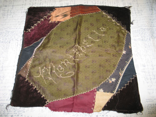 Antique Hand Pieced Embroidered Crazy Quilt c1900s-Pillow-Tapestry-MONTEBELLO