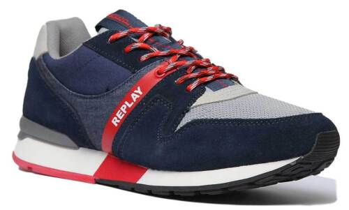 Replay Target Men Casual Mesh Suede Leather Trainers In Navy Size UK 6 - 12