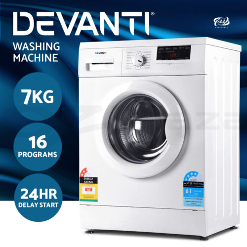 Devanti 7kg Front Load Washing Machine Quick Wash 24h Delay Start Automatic <br/> Counting down to Christmas! Ace for early gifts!