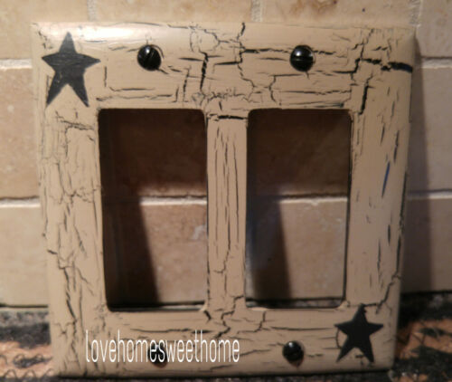 Primitive Crackle Tan & Black Star Double GFI / Paddle Switch Wall Plate