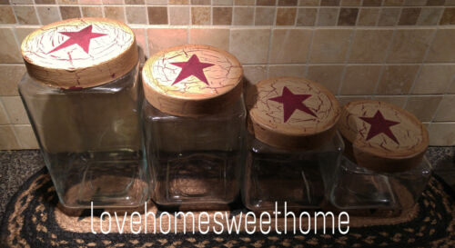 Primitive Crackle Tan & Burgundy Stars Glass Canisters Set of 4 ~ Country Decor