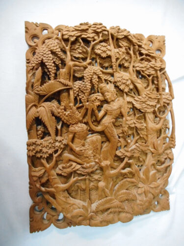 #MM.    CARVED WOODEN  WALL HANGING - HINDU THEMED