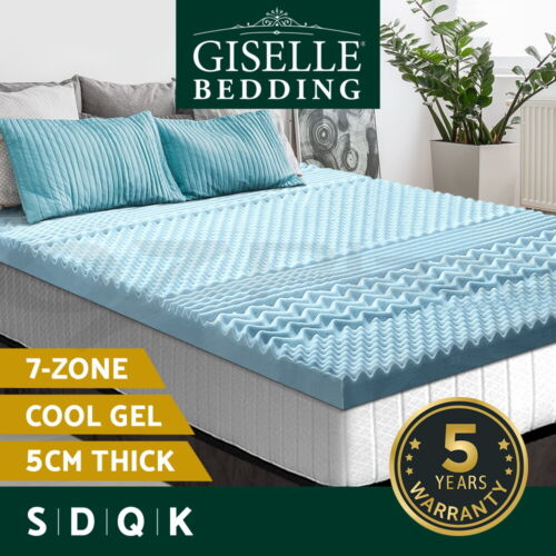Giselle Memory Foam Mattress Topper COOL GEL Bed BAMBOO Cover 5CM 7-Zone <br/> Bamboo Fabric Cover / Single Double Queen King Size
