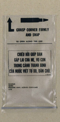 #YY9.  VIETNAM WAR AMMUNITION ENVELOPE AND INFORMATION LEAFLET1961 - 1975 (Vietnam) - 36060
