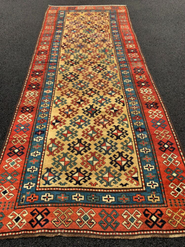 Antique Caucasian Kazak Shirvan Runner 4x9ft ft circa 1890