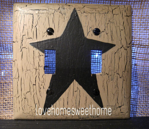 Primitive Crackle Tan & Black Star Double Switch Plate ~ Country Decor