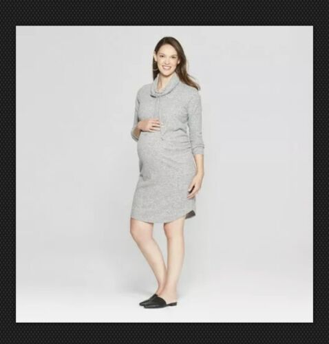 NWT Isabel Maternity Cowl Neck Sweatshirt Dress - Heather Gray XS-XL #k88