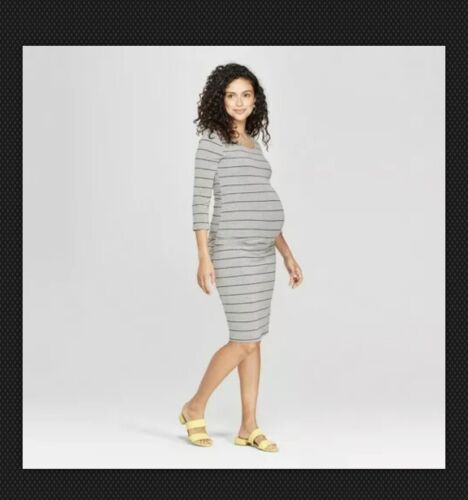 Isable Maternity Striped 3/4 Sleeve Shirred T-Shirt Dress - Gray XS-2XL #s83