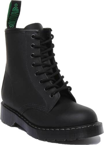 Solovair Derby 8 Eye Let Lace Up Black Leather Boots Unisex UK Size 3 - 12