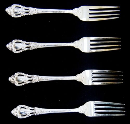 """Lot Of 4 Lunt ELOQUENCE Sterling Silver Dinner Forks 7.5"""" (A5398)"""