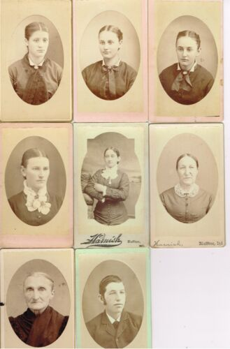 3 Generations of Family in  Bluffton Indiana by G.A. Harnish 1870's 8 CDV SET