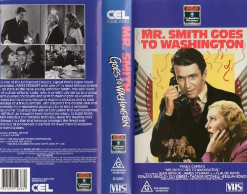 Mr. SMITH GOES TO WASHINGTON - VHS - NEW - PAL - Original Oz sell-thru release