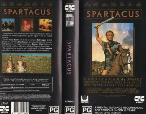 SPARTACUS- UNCUT - VHS -NEW - Never played- - PAL- Original Oz sell-thru release