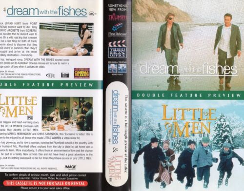 DREAM WITH THE FISHES / LITTLE MEN -VHS -Time Coded -Dealer Preview -PAL -AS NEW
