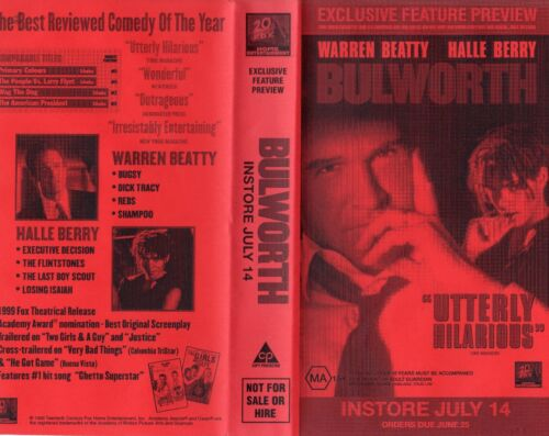BULWORTH - Warren Beatty - VHS - Time Coded - Dealer Preview - PAL - AS NEW