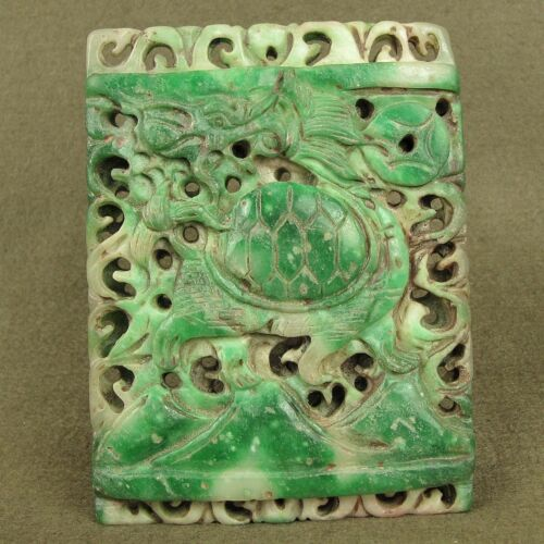 """4.1""""CHINESE ANTIQUE JADEITE JADE PENDANT WITH CARVED TURTLE DRAGON DECORATION"""