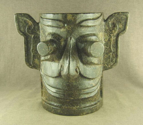 860g WITH CARVED STUNNING MYSTICAL CHINESE OLD JADE HUMAN FACE MASK
