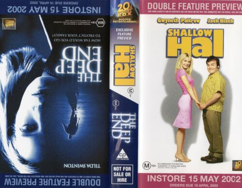 SHALLOW HAL / THE DEEP END - VHS - Time Coded - Dealer Preview - PAL