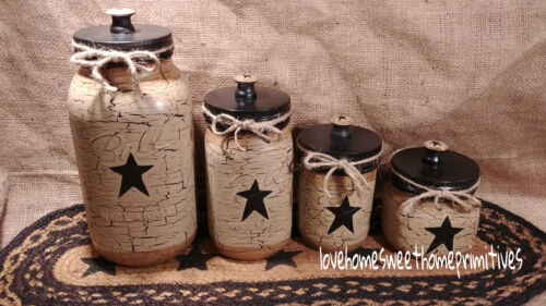 Primitive Crackle Tan & Black Stars Hand Painted Mason Jar Canister Set of 4